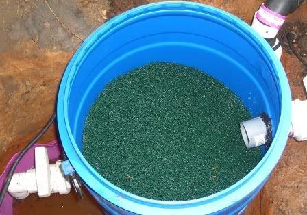 Diy 55 gallon barrel pond filter good description of a for Settlement tank for koi pond