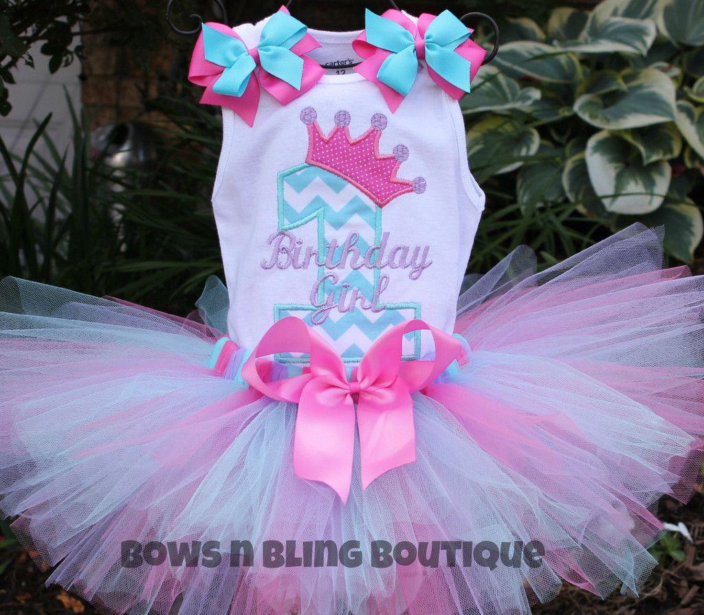 1st Birthday Outfit Aqua, lavender, Hot Pink Chevron Tutu First ...