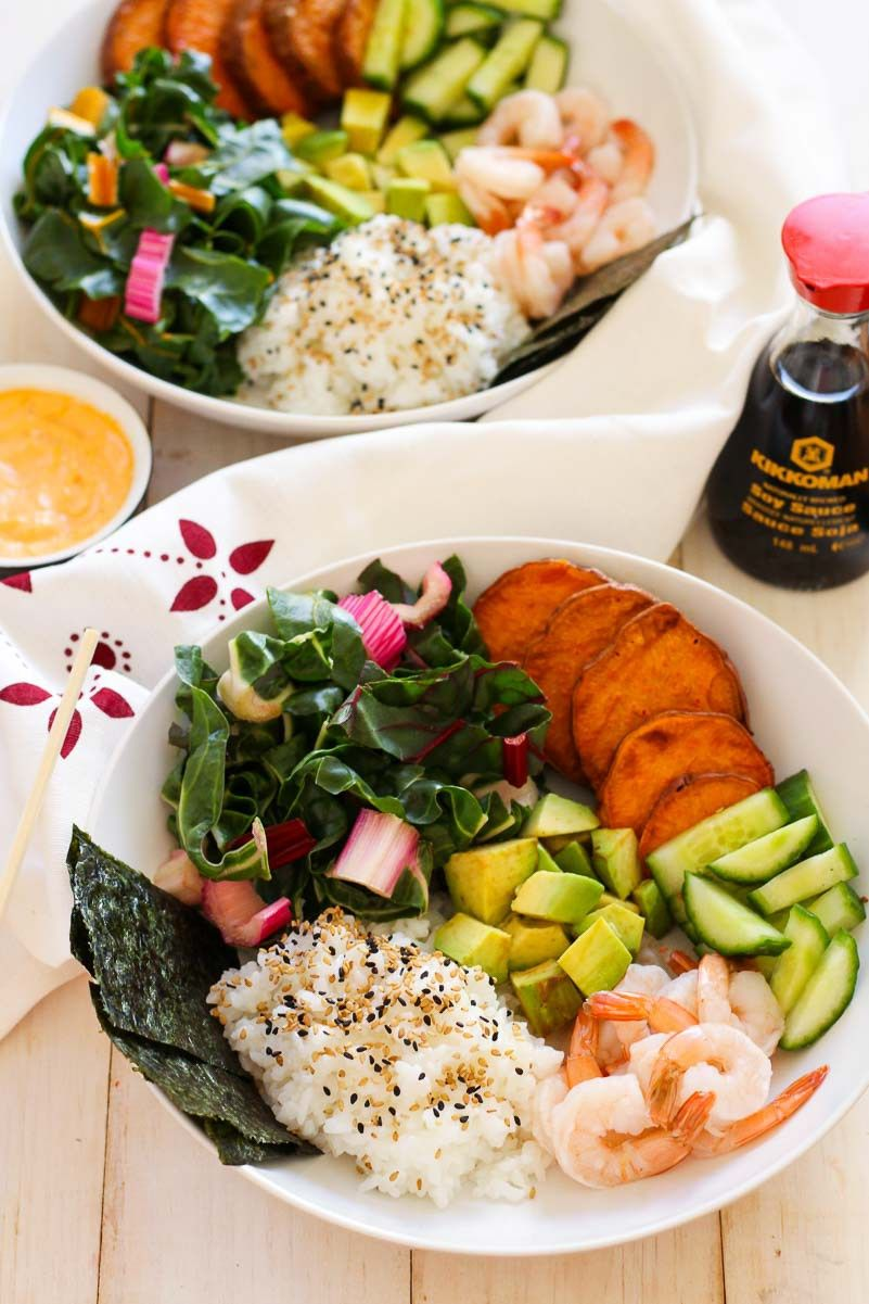 Shrimp sushi bowls with spicy mayo with images shrimp
