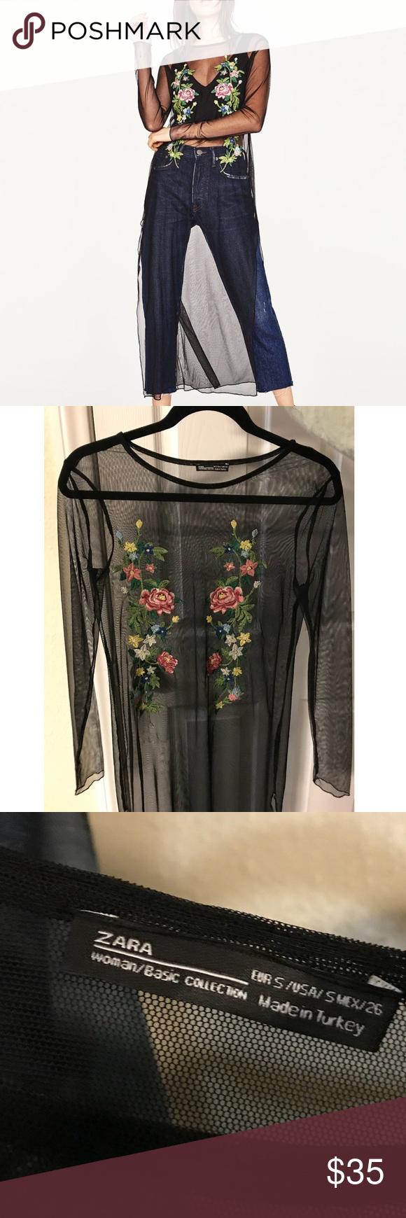 Nwot mesh floral dress zara dresses overlay and zara black