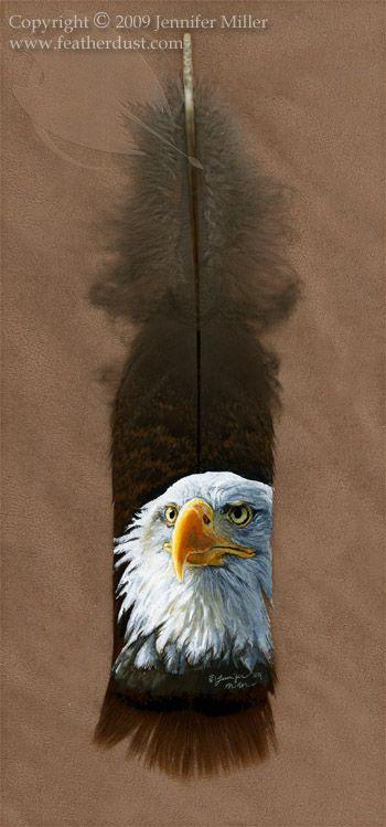 Bald Eagle Portrait on turkey feather by Nambroth.deviantart.com