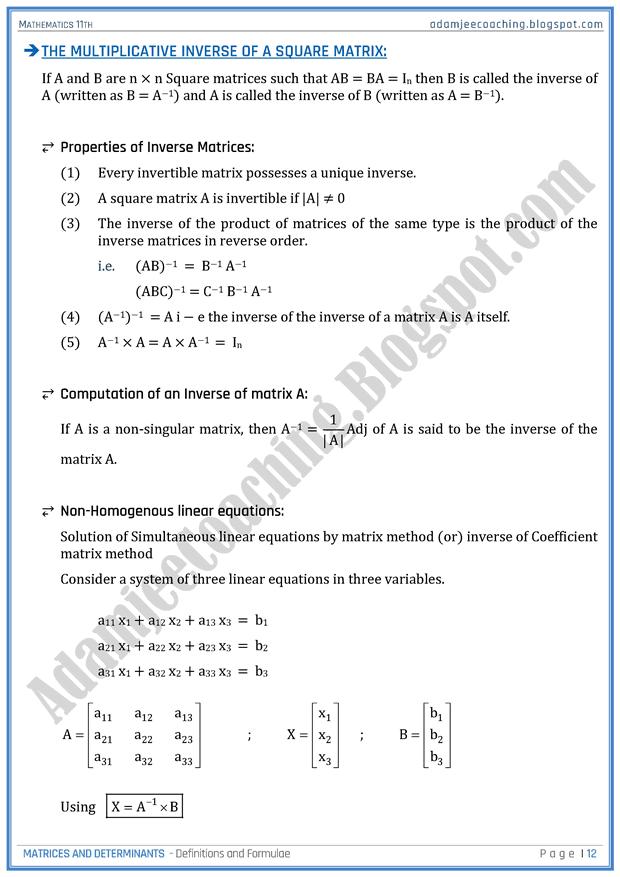 Adamjee Coaching Matrices And Determinants Definitions And Formulae Mathematics 11th In 2020 Mathematics Matrix Math Formulas