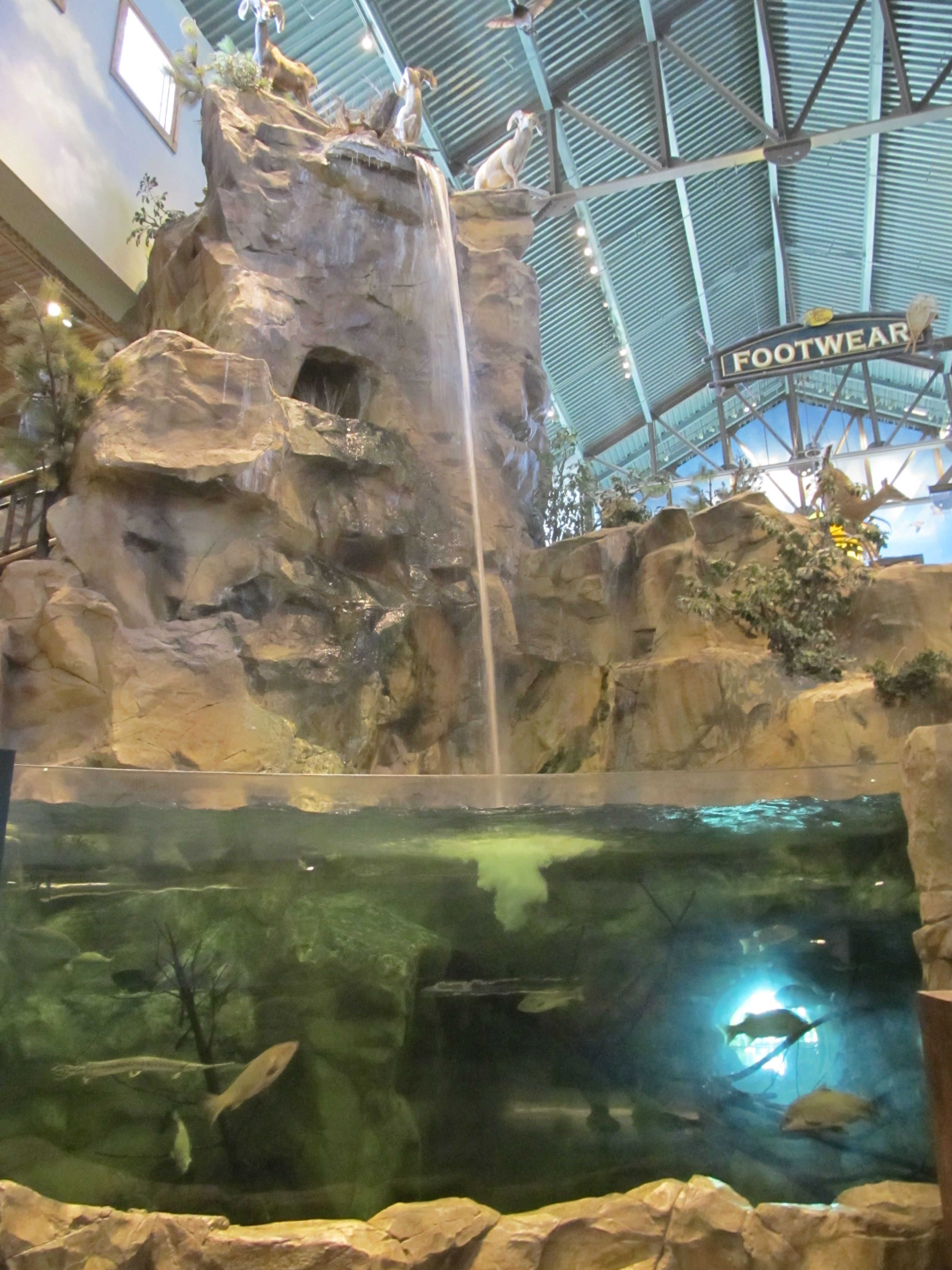 I love this waterfall with fish tank inside Bass Pro Shops