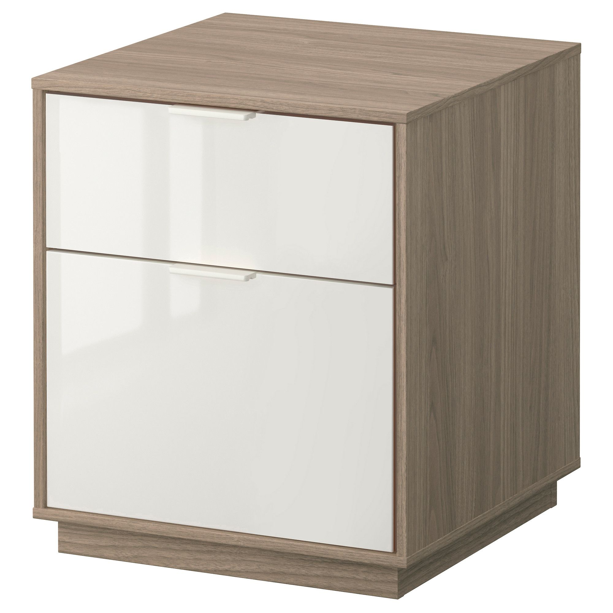 NYVOLL Chest with 2 drawers light gray/white IKEA
