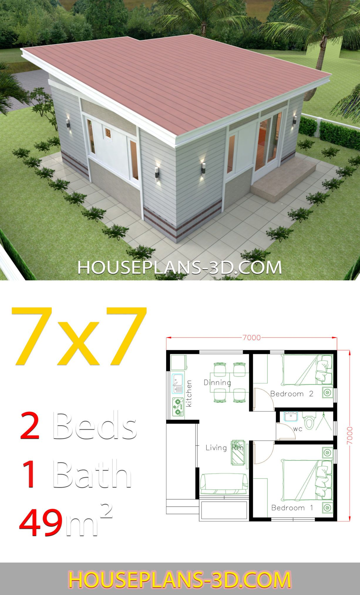 Small House Design 7x7 With 2 Bedrooms House Plans 3d Small House Design Plans House Design Pictures Small House Exteriors
