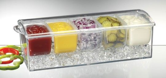 """Condiments on Ice - how """"cool"""" is this!!  Provides all the toppings you need for your burgers or hot dogs.  Available for sale at $24.95."""