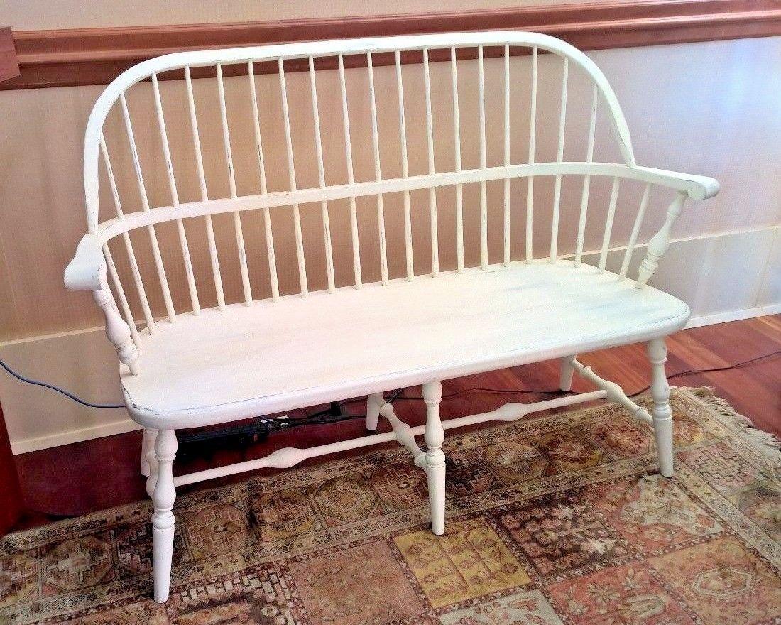 Wondrous Vintage Ethan Allen Spindle Back Maple Wood Bench Annie Beatyapartments Chair Design Images Beatyapartmentscom