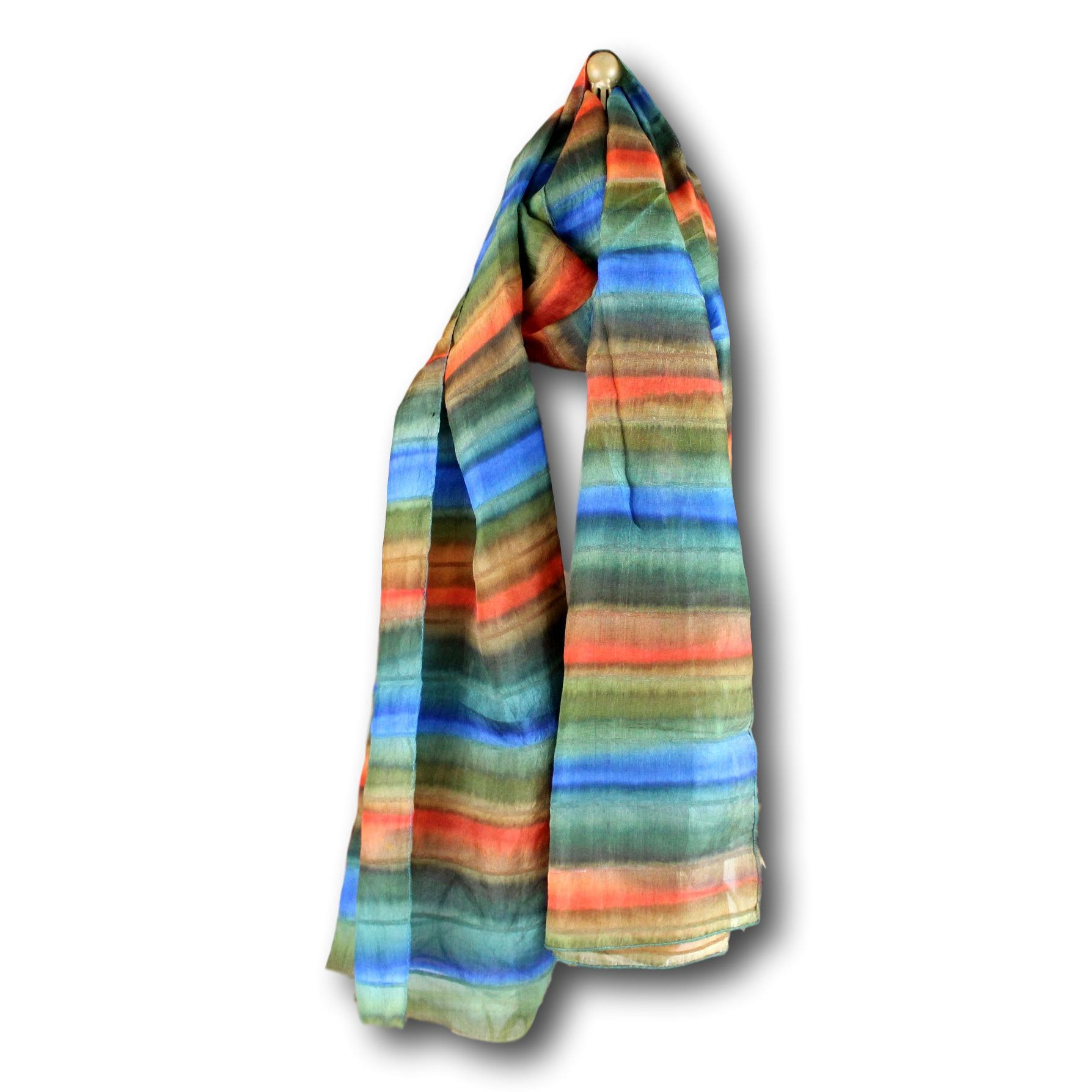 Handmade soft silk scarf striped ribbed x inches blue