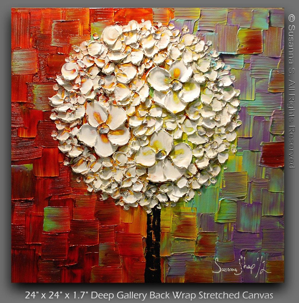 ORIGINAL White Blossoms Lollipop Tree Abstract Contemporary Oil Painting Thick Texture Colorful Modern Art by Susanna Ready to Hang 24x24. $285.00, via Etsy.