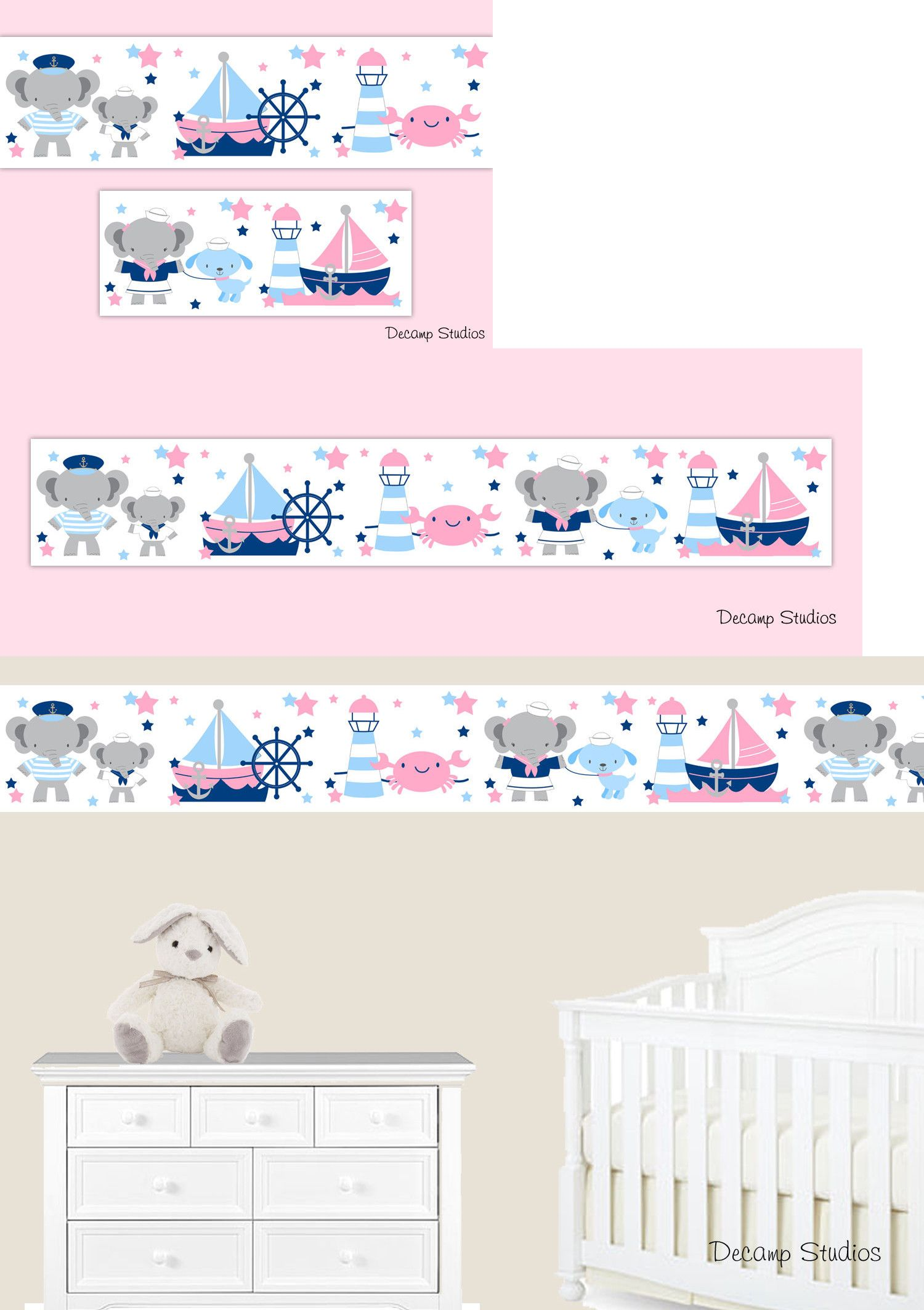 Wallpaper Borders 37636 Nautical Baby Nursery Pink