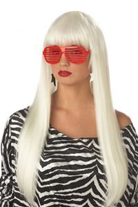 Long Angel White Wig Lady Gaga Halloween Costume Accessory Women Prop Poker Face