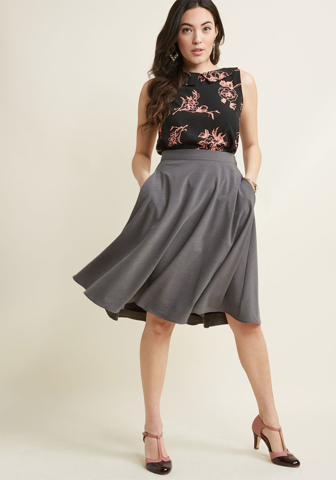 362f68095fffd8 Just This Sway A-Line Skirt in Carnation in 2019 | Business Casual ...