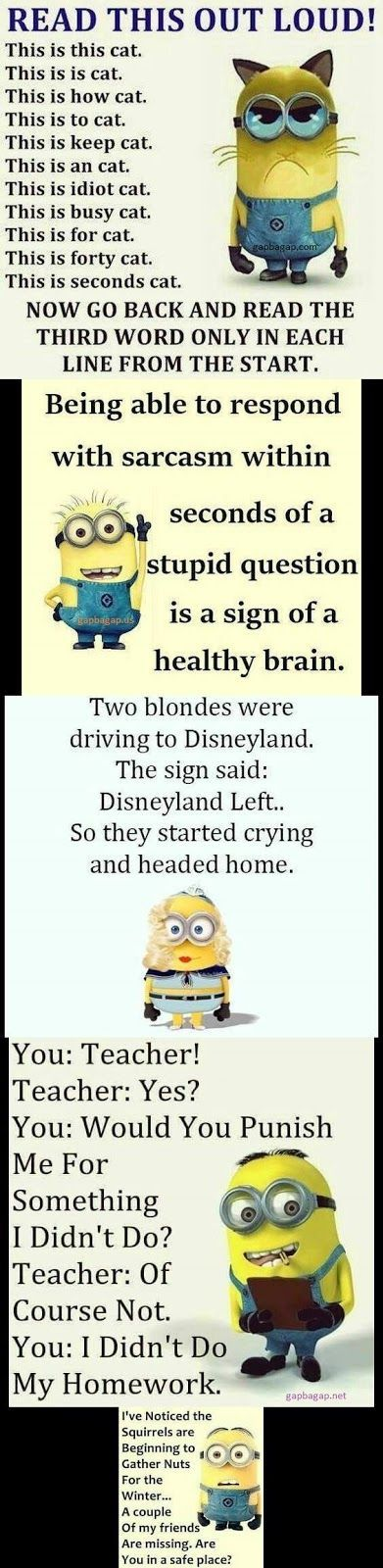 Top 5 Funny Minion Quotes….. Humor Funny quotes