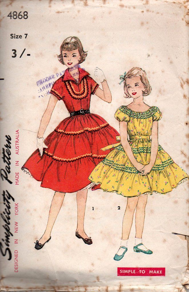 Simplicity 4868 Girl\'s Tiered Puff Sleeved Squaw Dress 50s Vintage ...