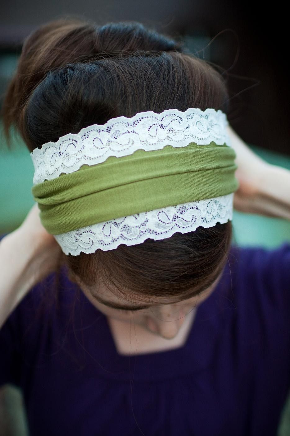 RUSTIC GREEN stretch trimmed scarf headcovering hair band head wrap covering. $20.00, via Etsy.