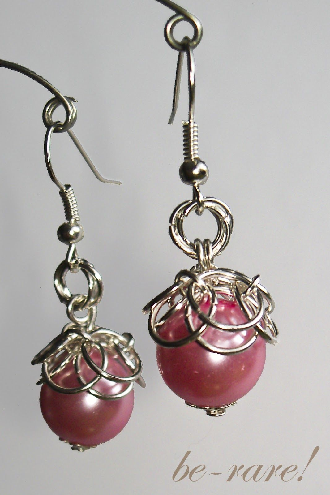 chainmaille earrings with pearl beads and helm pattern | ALL WIRED ...