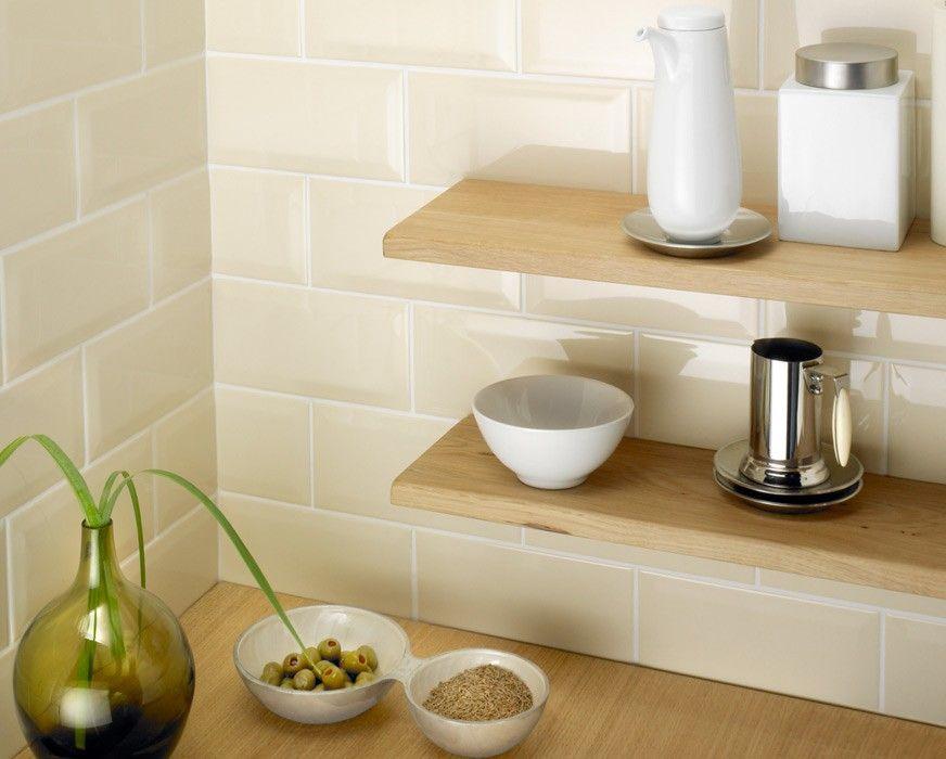 NC220435 Cream Bevel Gloss Subway Wall Tiles Brisbane   Kitchen ...