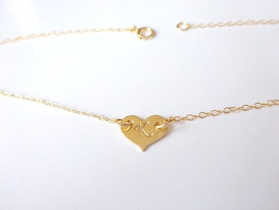 bracelet gift heart wanelo dainty initial gold anklet ankle personalized on shop