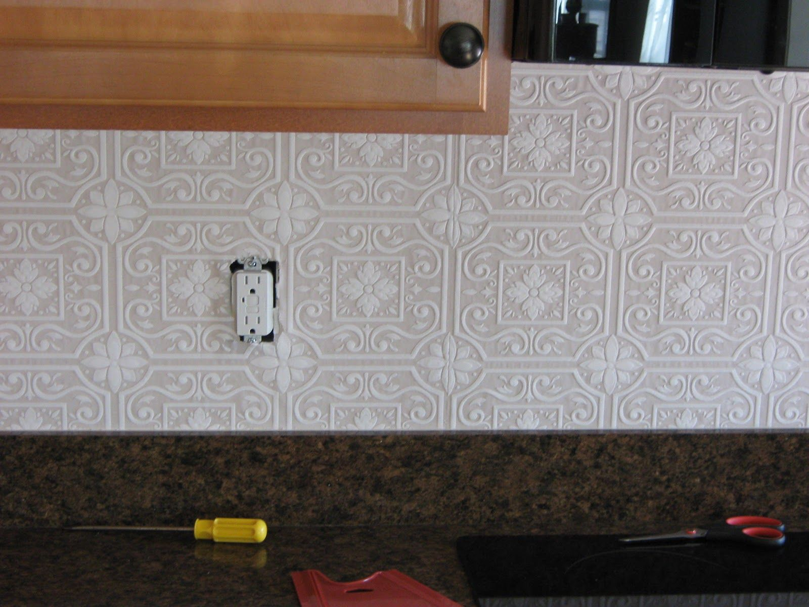 Tin Backsplashes For Kitchens This Is Raised Paintable Wallpaper With A Punched Tin Patte Punched Tin Backsplash Tin Backsplash Kitchen Backsplash Wallpaper