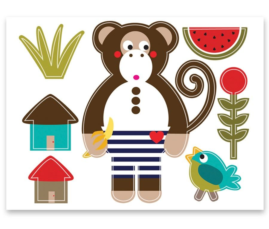 Michael the Monkey Wall Stickers | Olive and Moss