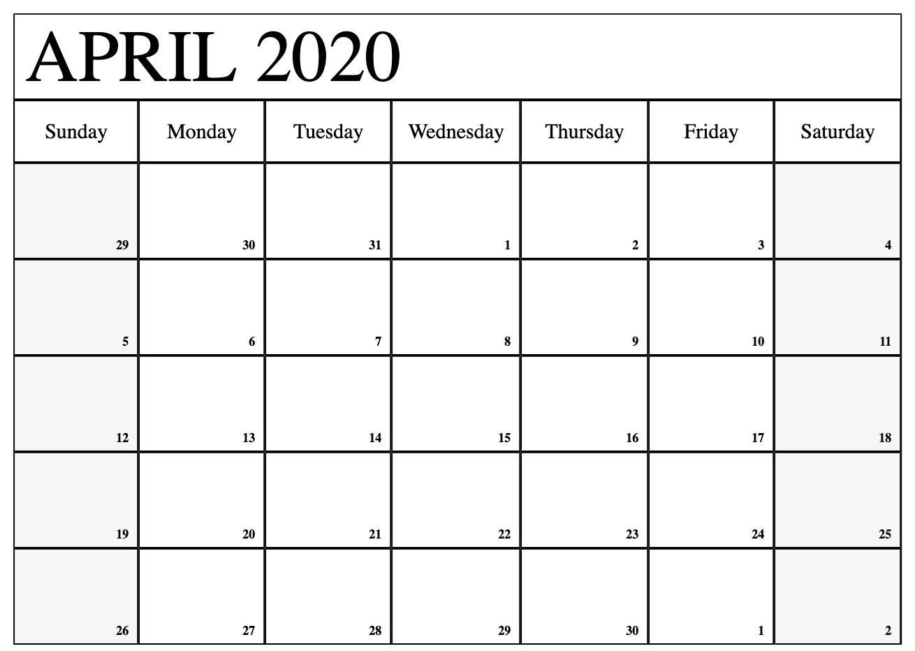 Blank April 2020 Calendar Editable Printable Template Calendar