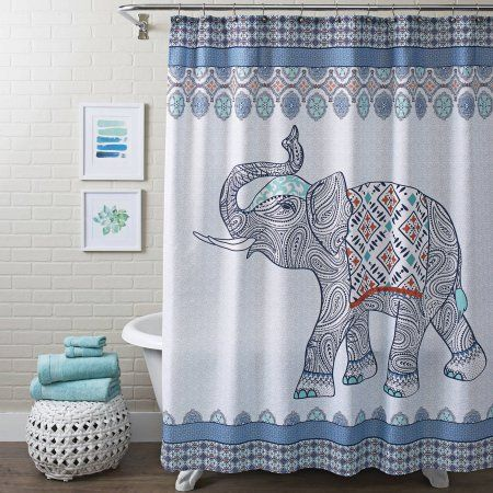 better homes and gardens global elephant shower curtain, multiple