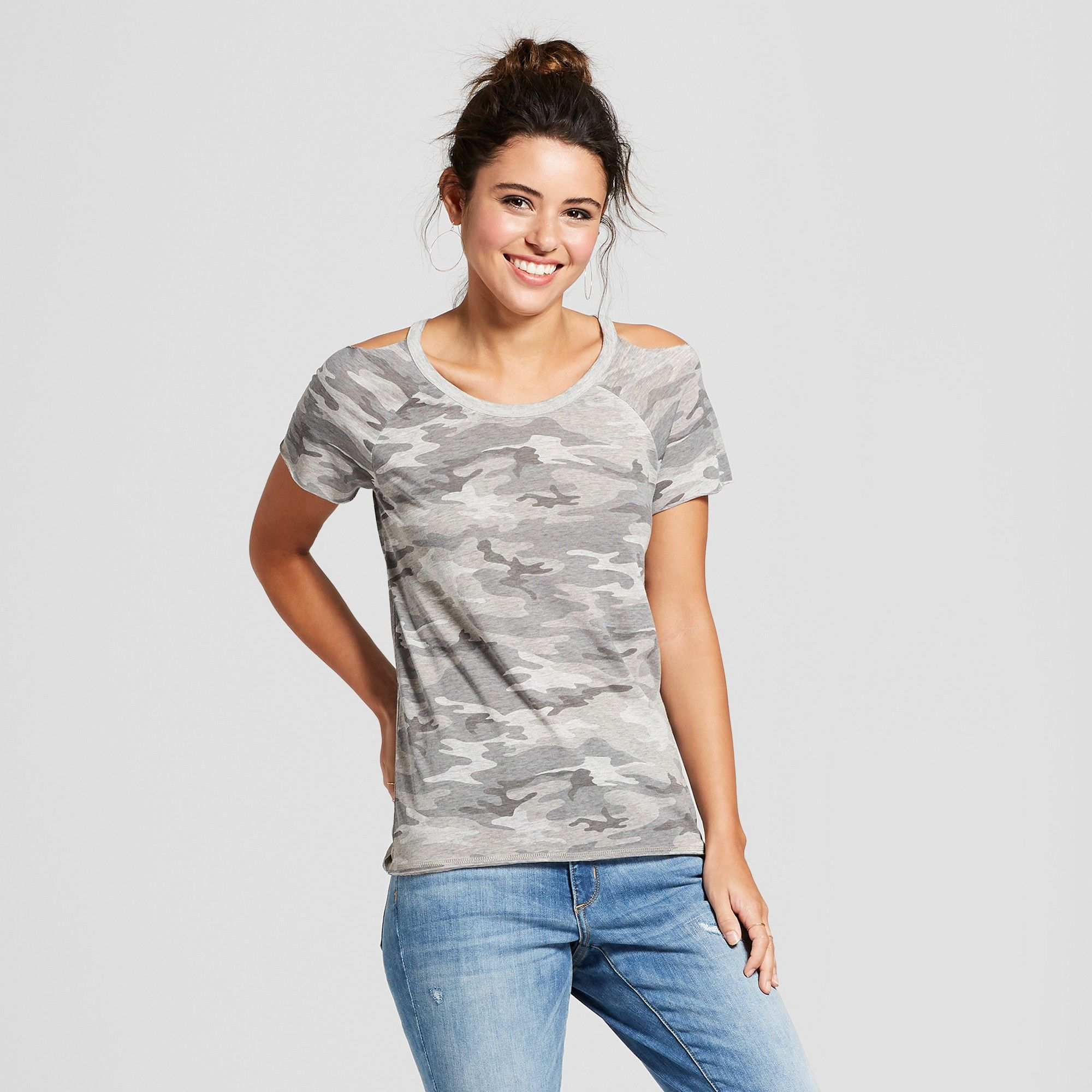 5d9fc993ee6 Women s Camo Print Short Sleeve Cold Shoulder Burnout Wash T-Shirt -  Grayson Threads (Juniors ) Heather Gray M