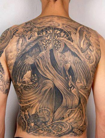angel of death tattoo awesome back tattoos pinterest. Black Bedroom Furniture Sets. Home Design Ideas