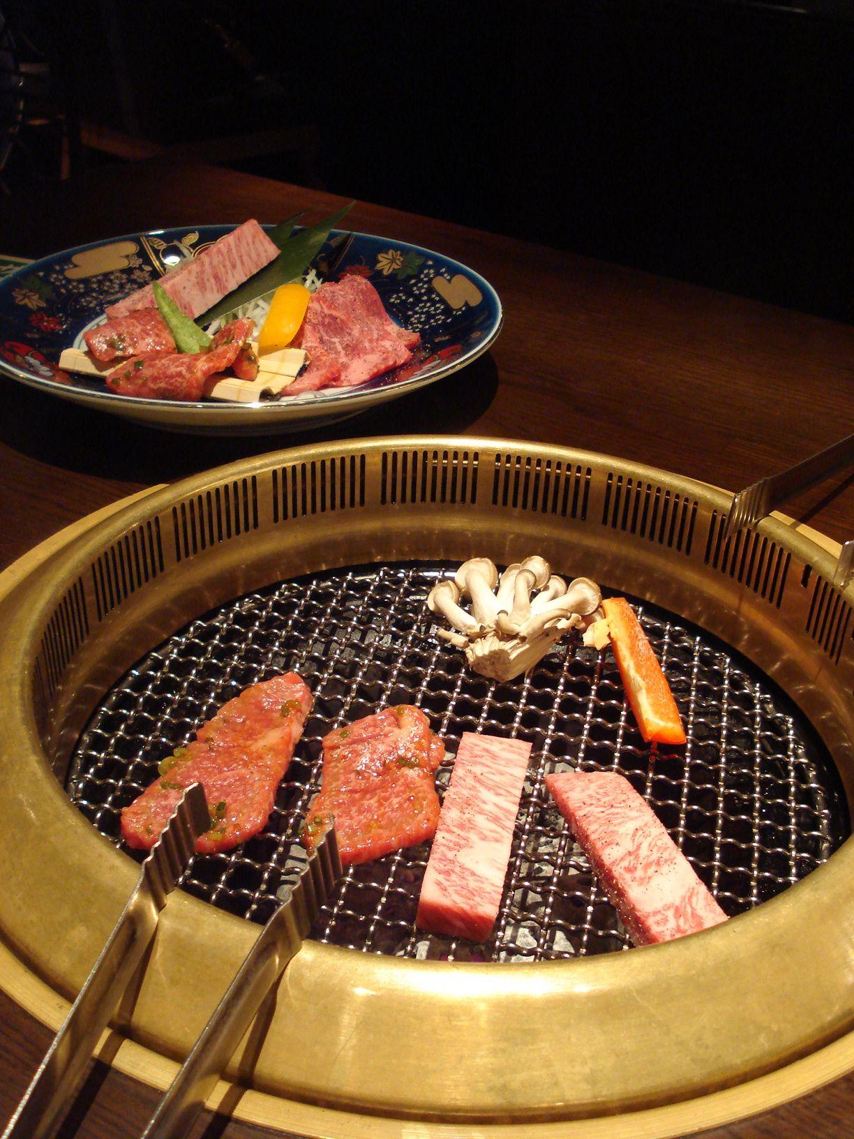 yakiniku order cuts of meat and veggies cook yourself over coal or