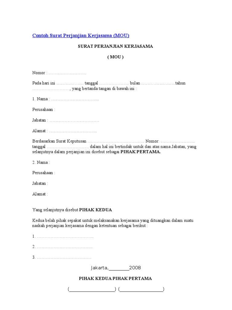Surat Mou Contoh Sponsorship Surat Perjanjian Contoh Kerjasama Surat Cinta Tanggal Tanda