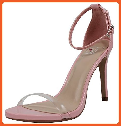 1fd78dc618ac Delicious Women s Open Toe Clear Strap Ankle Strap High Heel Sandal (Pink