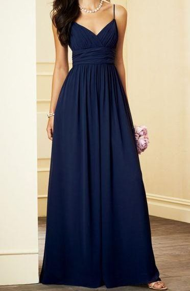 651d04343f Simple Light Navy Blue Prom Dress