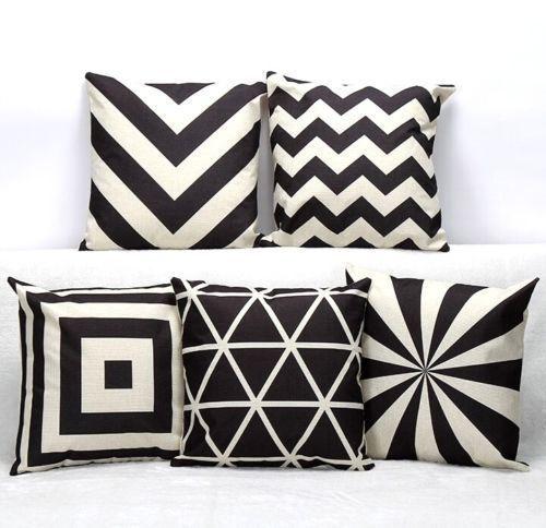 7 62aud Fd3723 Vintage Black White Geometric Cotton Linen Cushion Cover Throw Pillow Ebay Home Garden Pillows Decorative Pillow Covers Decorative Pillows