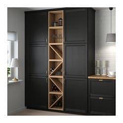 Vadholma Range Bouteilles Brun Frene Teinte 40x37x40 Cm Cuisine Noire Et Bois Meuble Rangement Ikea Cuisine Moderne
