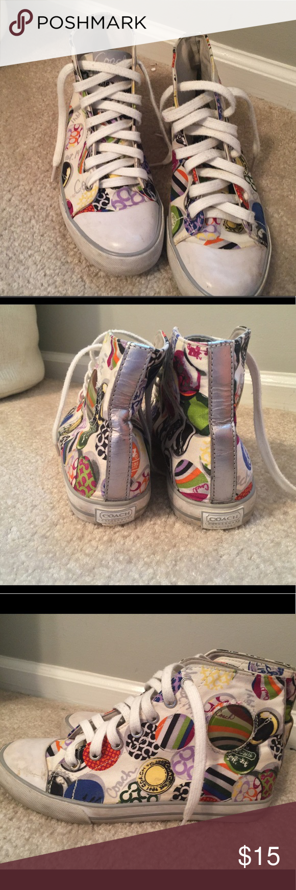 Coach high top sneakers!! Love these sneakers!! :)) I wore them a lot so they do show some signs of wear, but otherwise in good condition! Super fun pattern too! Coach Shoes Sneakers