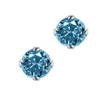 Diamond Earrings Studs Round Blue Solitaire In 14k White Gold