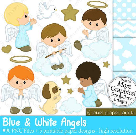 Angeles azules y blancos Set de Clip Art y por pixelpaperprints ...