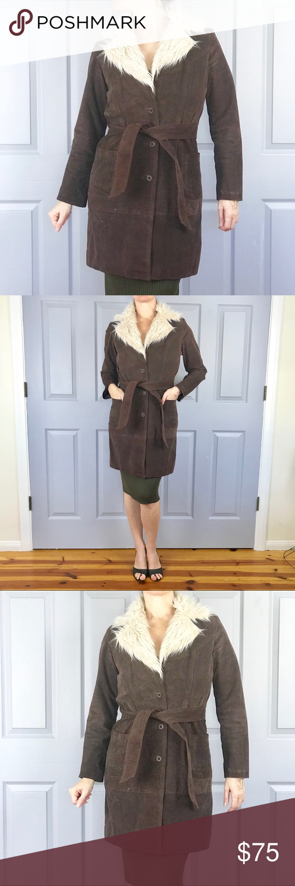 BROWN LEATHER COAT FAUX FUR JACKET long trench M Super