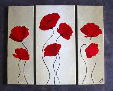 tableau peinture triptyque moderne coquelicots fleurs fleurs acrylique triptyque coquelicots. Black Bedroom Furniture Sets. Home Design Ideas