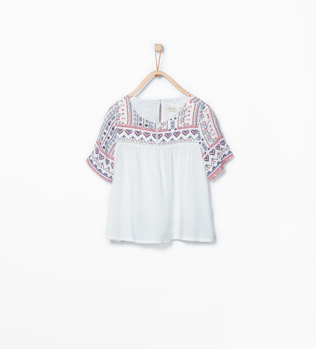 afde9f1ac Blouse with printed yoke-Shirts & Blouses-Girl (3-14 years)-KIDS | ZARA  United States