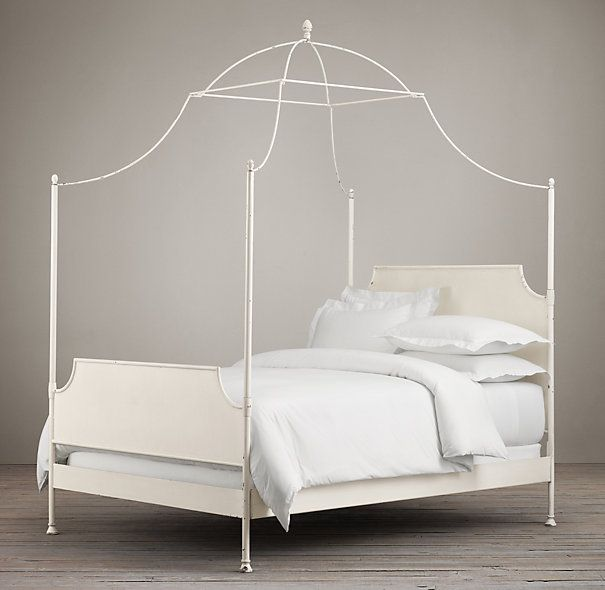 19th C Campaign Iron Canopy Bed Bedroom Refresh