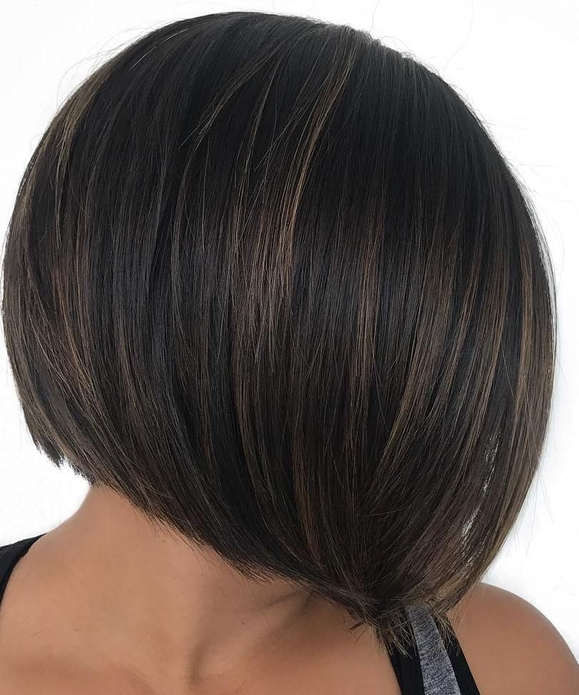 Short dark brown bob with highlights hairstyle ideas for short