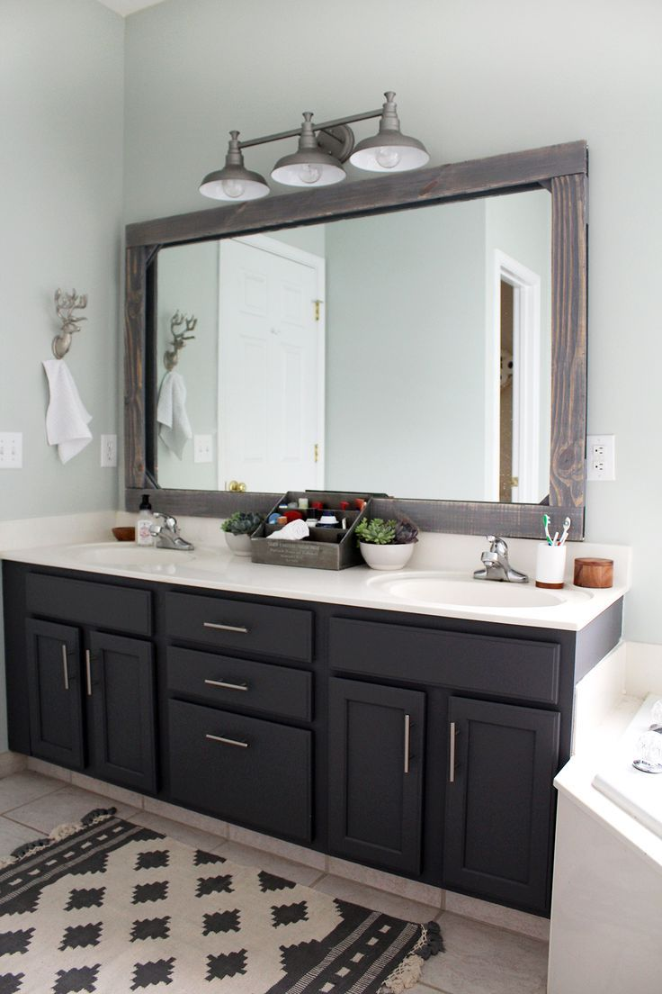 Photo of bathroom #refresh #for #$300–painted #dark #grey #cabinets, #mirror