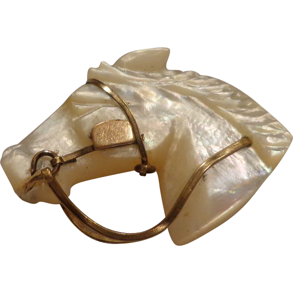Magnificent Edwardian Era Mother of Pearl MOP Racing Horse Brooch Pin Equestrian