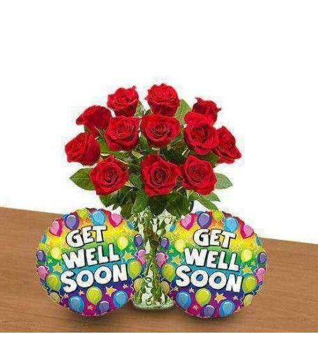 Roses For Good Health Get Well Balloons Balloons Balloon Bouquet Delivery