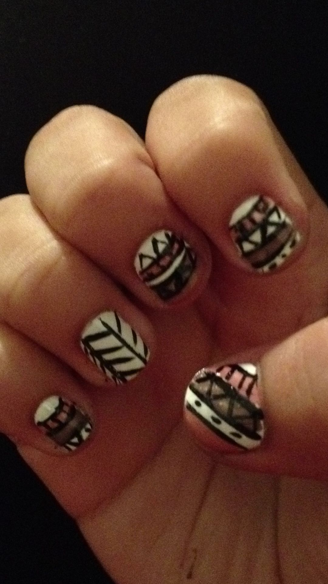 Aztec Tribal Nails Or Is It Hippie Nails Or Boho Blah Whatever Its