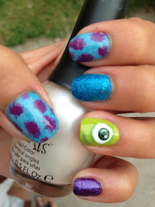 Monsters Inc. Nail Art. Free Nail Technician Information http://www ...