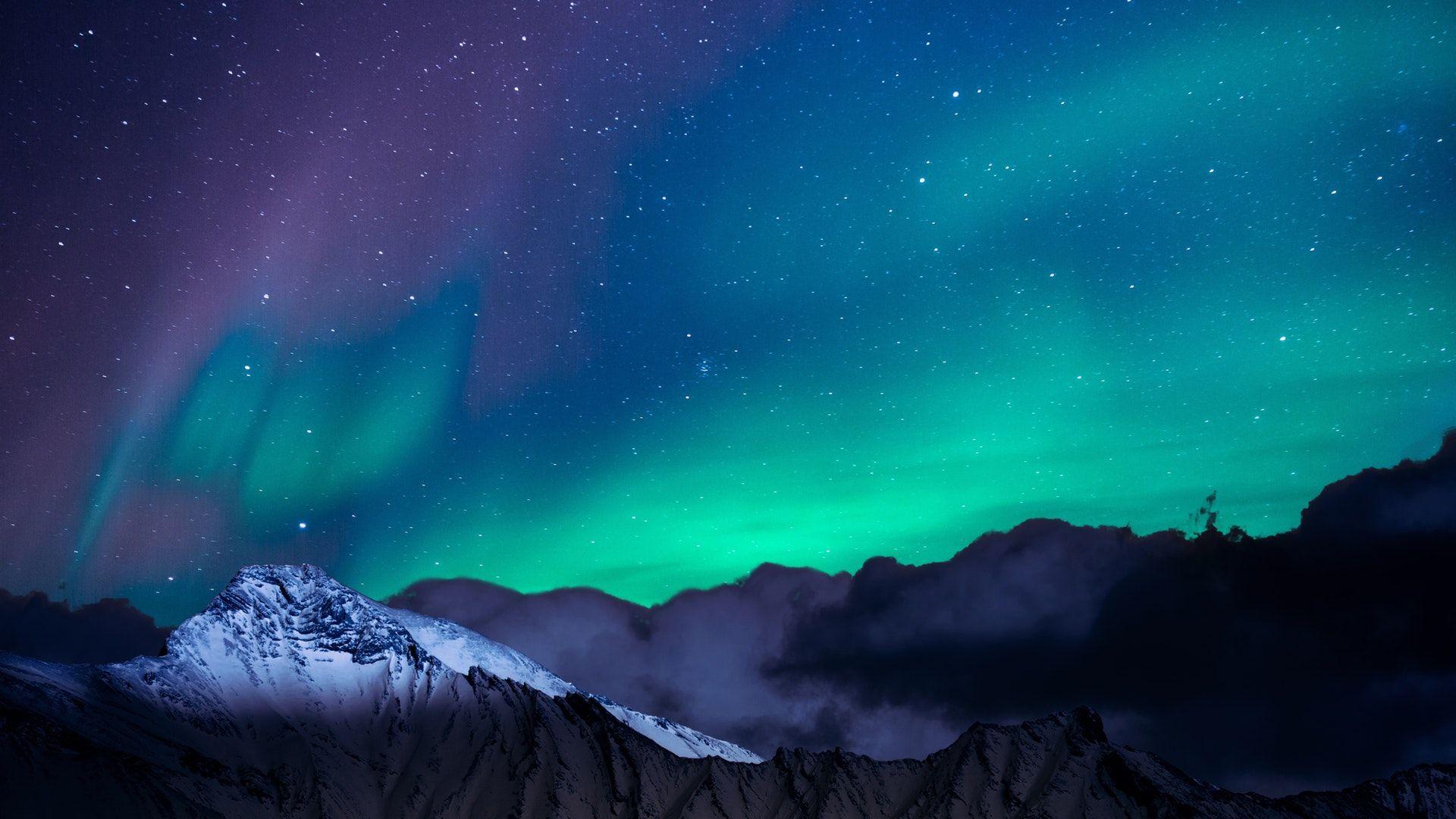 Landscape Photo Of Mountain With Polar Lights 1920x1080 Background Hd Wallpaper Polar Light Northern Lights