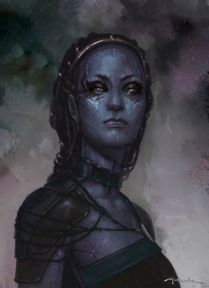 """Concept art for Nebula from """"Guardians of the Galaxy"""" (2014)."""