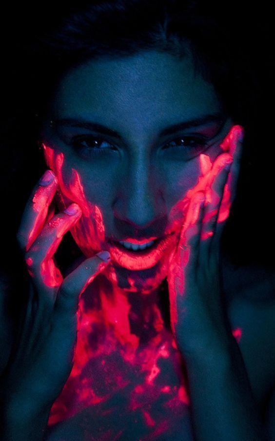 UV Neon Pink Paint On Face
